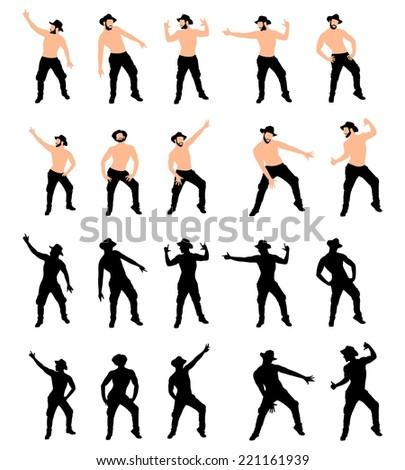 Man with hat dancing, vector