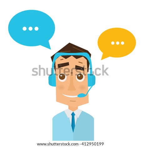 Man with headsets and colorful speech bubbles in call center. Business concept of client service and communication. Online support. 24 hour customer support center. - stock vector