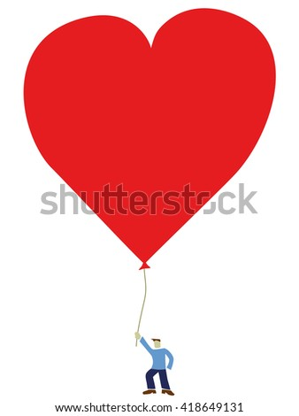 Man with heart shaped balloon