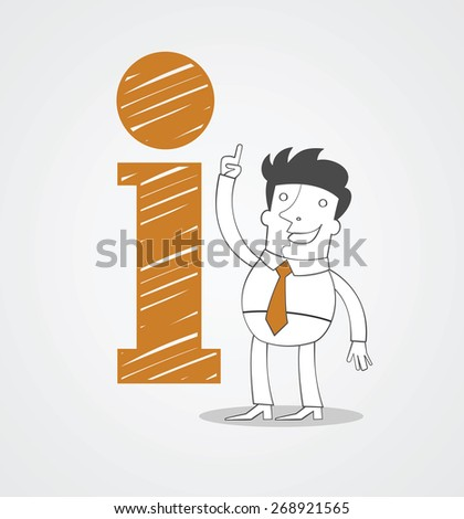Man with icon of information - stock vector