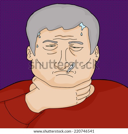 Man with infection holding throat and sweating - stock vector