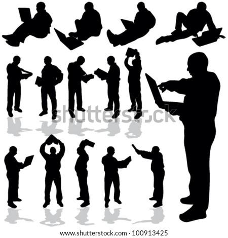 man with laptop black silhouette art vector illustration - stock vector