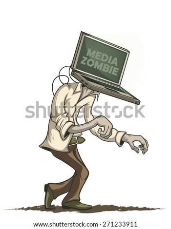 Man with laptop media zombies instead of the head. Isolated - stock vector