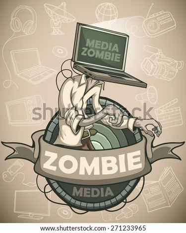 Man with laptop media zombies instead of the head. Label.  Against the background of the objects associated with the mass media. - stock vector