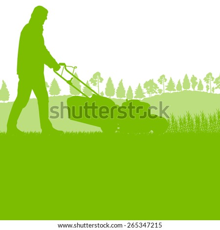 Man with lawn mover cutting grass vector background ecology concept - stock vector