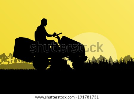 commercial lawn mower silhouette. man with lawn mower tractor cutting grass in field landscape abstract background illustration vector commercial silhouette