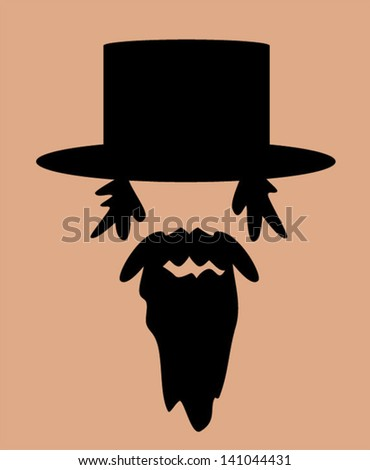 man with long beard and hat - stock vector