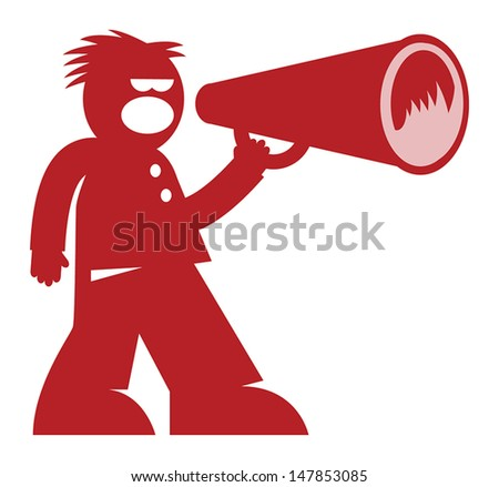 Man with Megaphone, vector illustration - stock vector