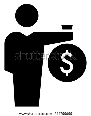 Man with money bag icon - stock vector