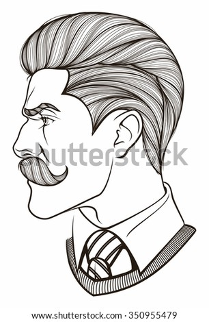 man with mustache - stock vector