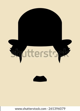 Man with mustache wearing a vintage hat symbol - stock vector