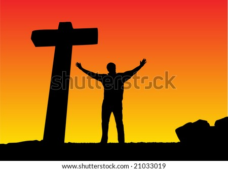 man with open arms and a cross - stock vector