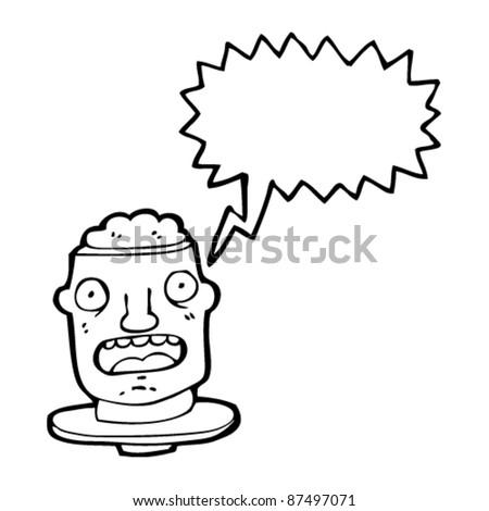 man with open brain cartoon - stock vector
