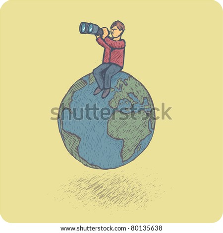 Man with pair of binoculars looking far sitting on the earth planet. Searching concept. - stock vector