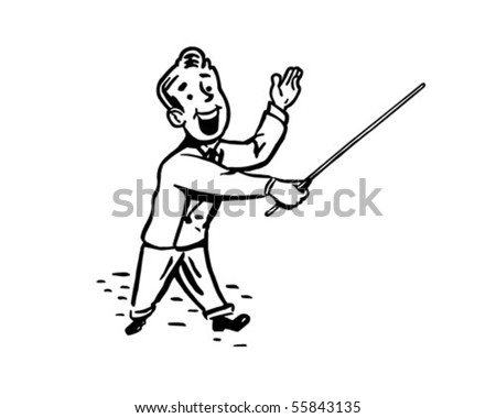 Man With Pointer Stick - Retro Clip Art - stock vector