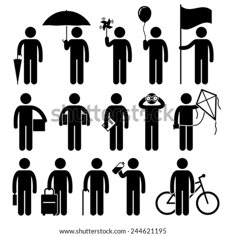 Man with Random Objects Stick Figure Pictogram Icons - stock vector