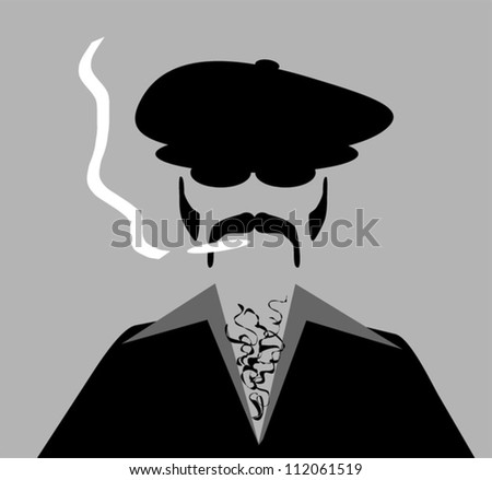 man with retro style clothing and hat smoking marijuana cigarette - stock vector