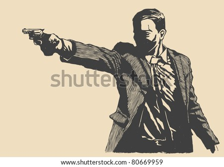 man with revolver pistol, drawing style. vector illustration - stock vector