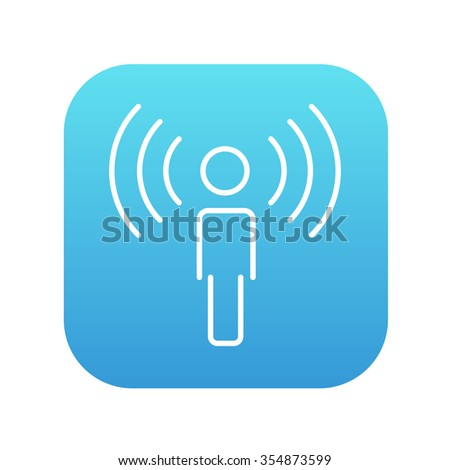 Man with soundwaves line icon for web, mobile and infographics. Vector white icon on the blue gradient square with rounded corners isolated on white background. - stock vector