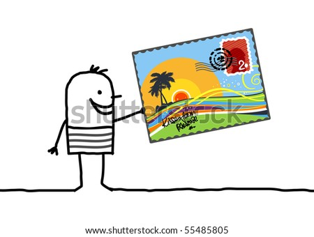man with summer postcard