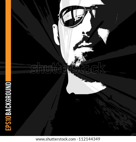 man with sunglasses and earphones looking at the sun II. - stock vector