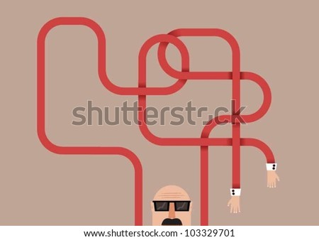 Man with tangled arms - stock vector