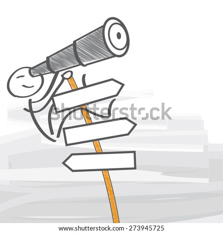 Man with telescope climbs a signpost - stock vector