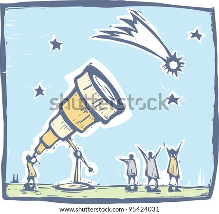 Man with telescope spies a comet in the sky. - stock vector