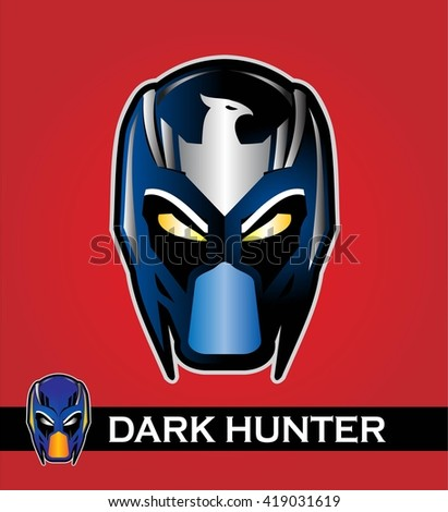 man with the mask. superhero head with the eagle icon at the forehead . Superhero head in shiny color. Alien. Predator. Artwork. Vector illustration. Superhero head illustration compose with text. - stock vector