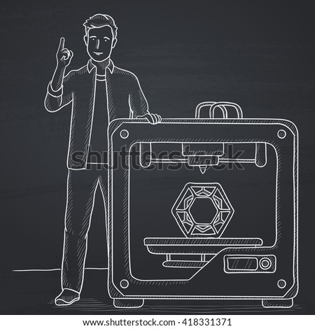Man with three D printer. - stock vector