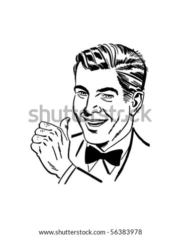 Man With Thumbs Up - Retro Clip Art - stock vector