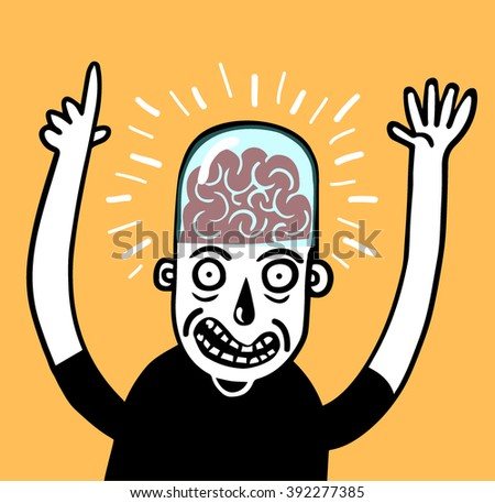 Man with transparent cover on brain  - stock vector