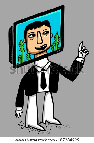 man with tv face  - stock vector