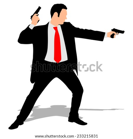 Man with two guns  - stock vector