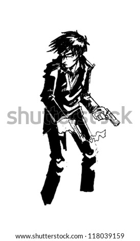 man with two guns in hands - stock vector