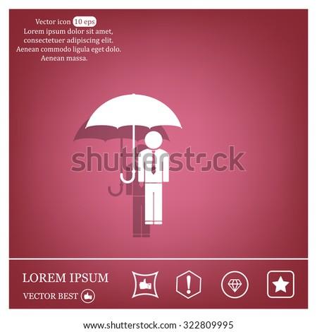 Man With Umbrella - stock vector