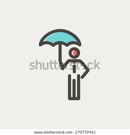 Man with umbrella icon thin line for web and mobile, modern minimalistic flat design. Vector icon with dark grey outline and offset colour on light grey background. - stock vector