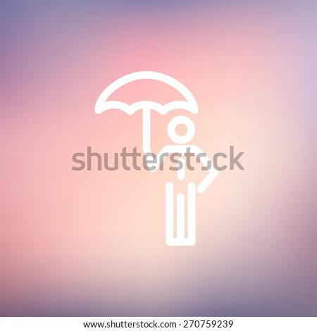 Man with umbrella icon thin line for web and mobile, modern minimalistic flat design. Vector white icon on gradient mesh background. - stock vector