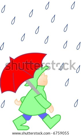 Man with umbrella in a rainy weather - stock vector