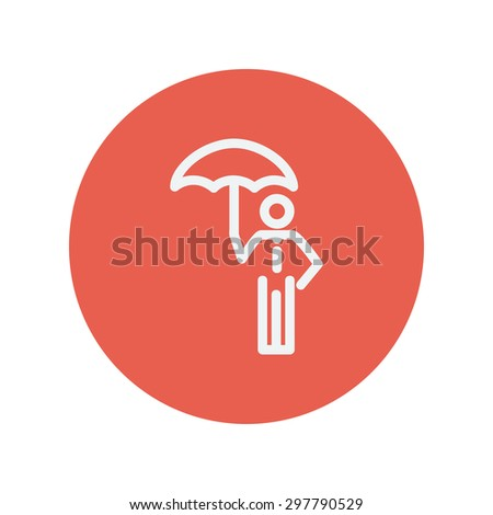 Man with umbrella thin line icon for web and mobile minimalistic flat design. Vector white icon inside the red circle. - stock vector