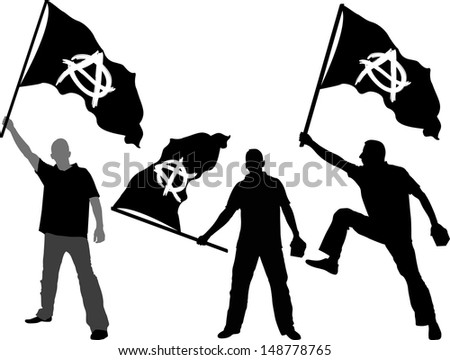 man with waving flag of Anarchy  - stock vector