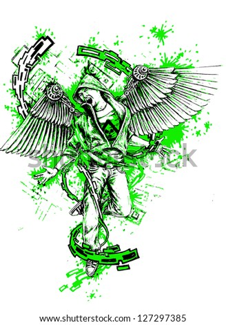 man with wings in chains, urban art - hand-drawn illustration - stock vector