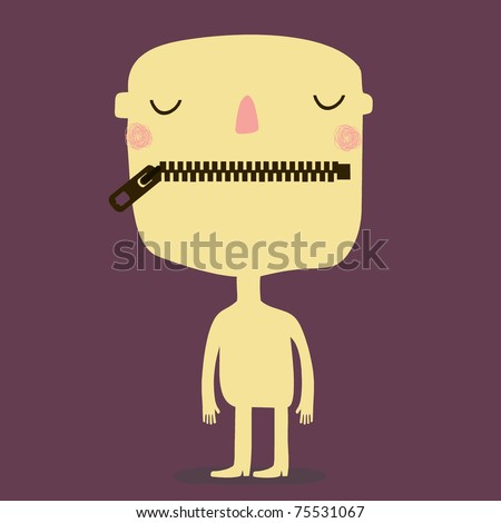man with zipper mouth - stock vector