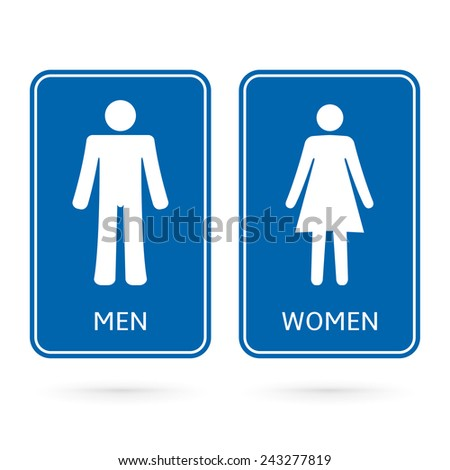 Man Woman blue signs. Made for gender identification of restroom or toilet doors.