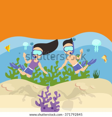 man woman couple snorkeling scuba diving under water sea coral reef  - stock vector