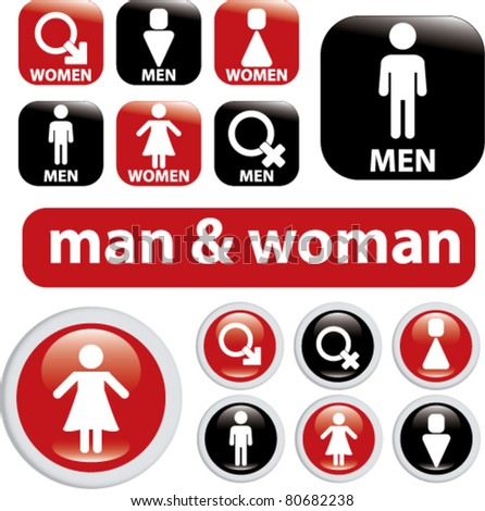 man & woman icons, illustrations, vector