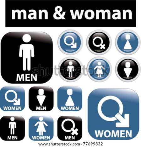 man & woman signs & icons, vector - stock vector