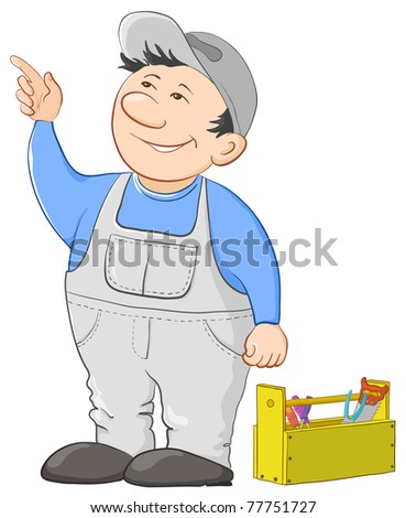 Man worker in a cap and a uniform with a toolbox, vector - stock vector
