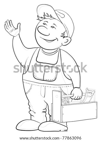 Man worker in a cap and a uniform with a toolbox, vector, contours