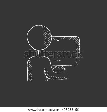 Man working at his computer. Drawn in chalk icon. - stock vector